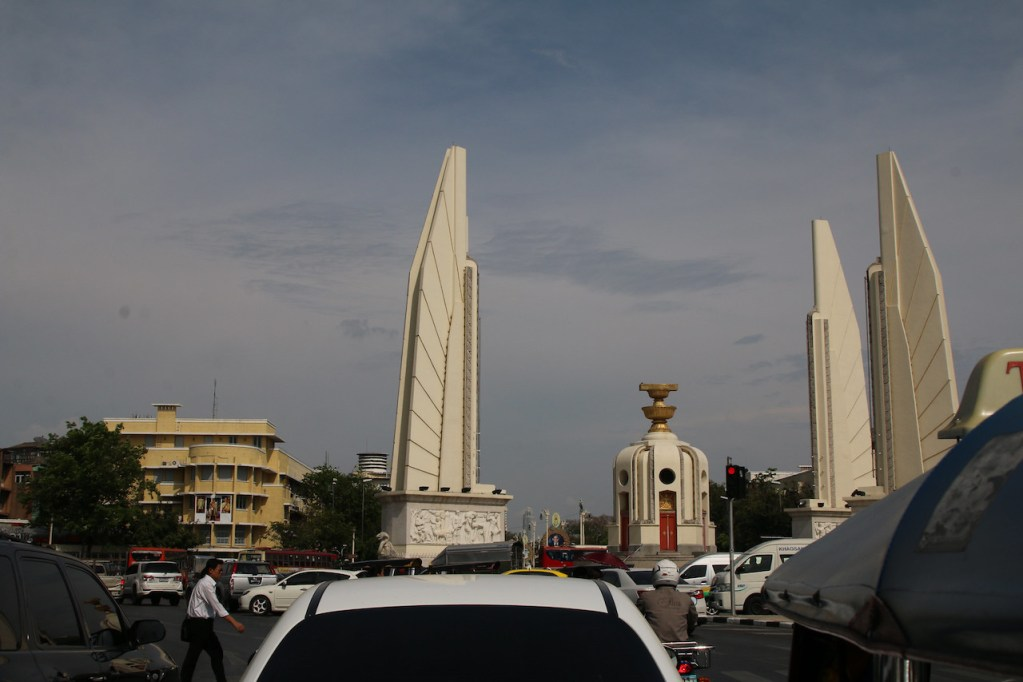 Traffic jam at Democracy Monument in Bangkok