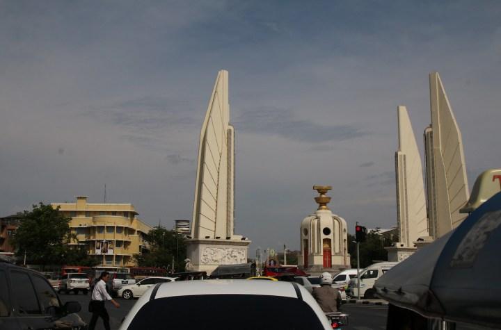 Traffic jam at Democracy Monument in Bangkok