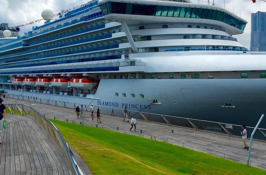 The Diamond Princess Cruise Ship moored at the Port of Yokohama, Japan