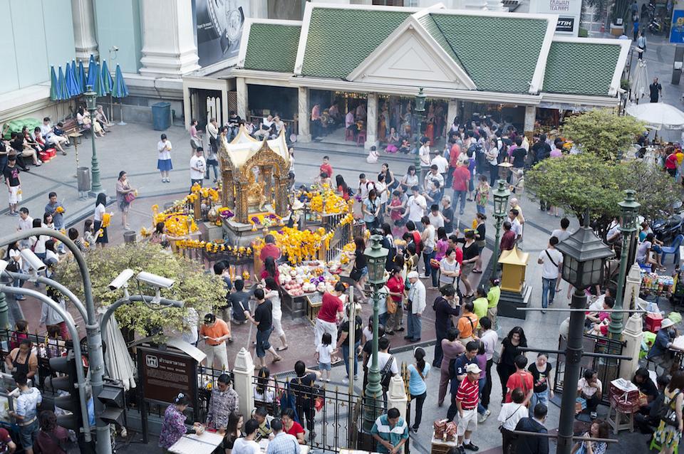The Erawan Shrine, a Hindu shrine in Bangkok