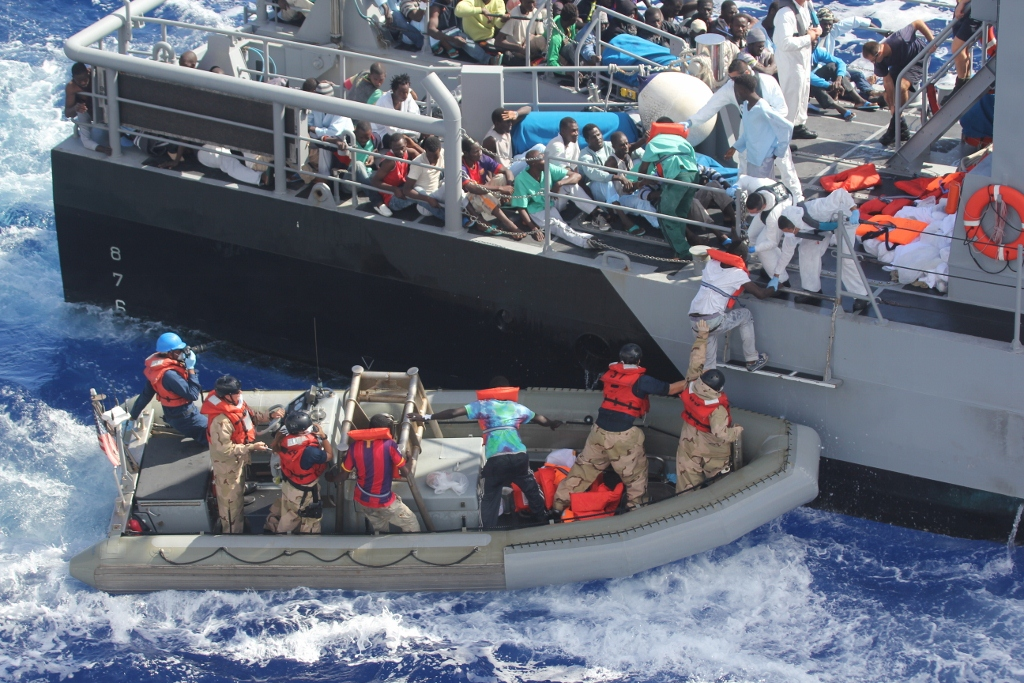 African migrants transferred to a Maltese patrol vessel