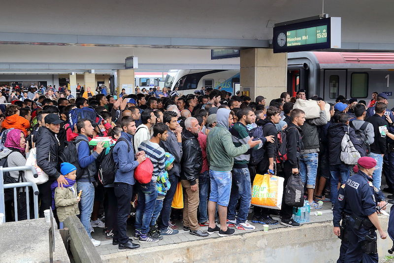 Refugees at Wien Westbahnhof railway station, Austria, on their way to Germany