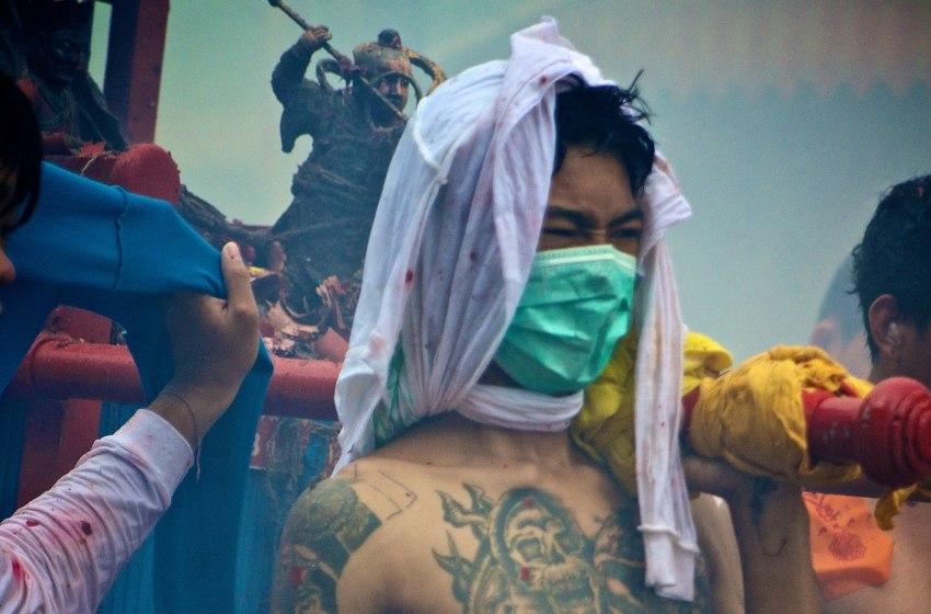 Street processionin Phuket Town during COVID-19 pandemic
