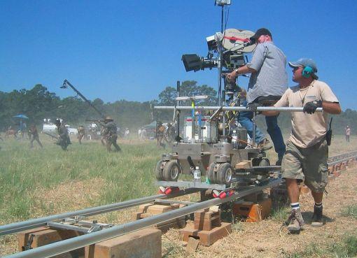 "Crew members filming ""The Alamo"" in 2004"