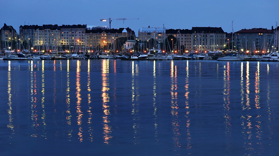 Night view of Helsinki, Finland