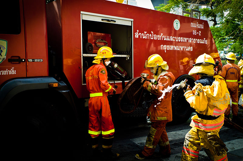 Thai fire engine and firefighters