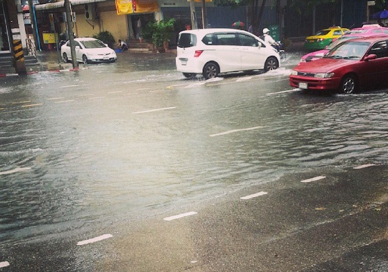 Flooded road in Thailand