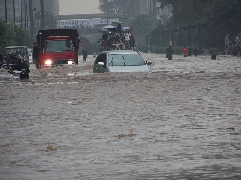 A car in Jakarta during the 2007 floods in Indonesia