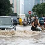 Flooded road in Hanoi, Vietnam