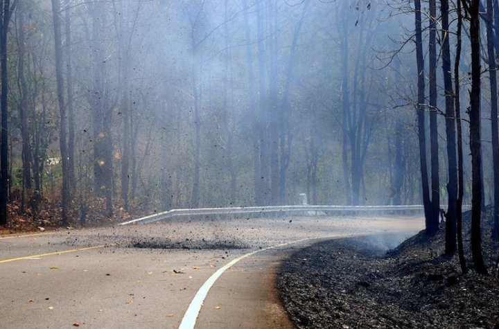 A forest fire in Mae Hong Son province.