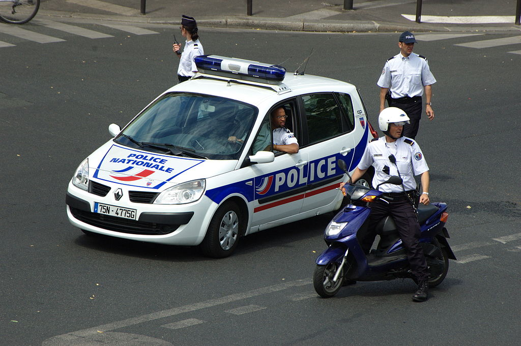 French police car and officers