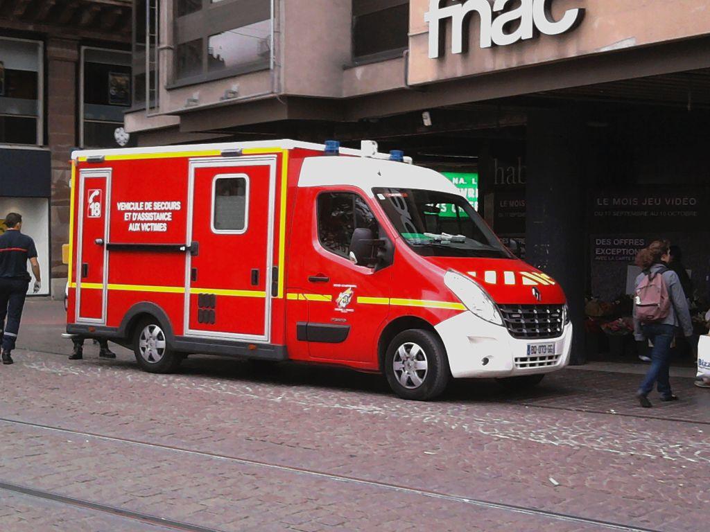 Ambulance in front FNAC in Strasbourg, France