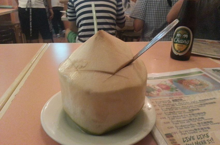 Fresh tender Thai coconut