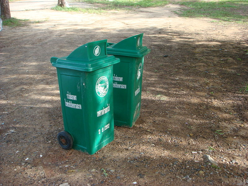 Trash bins at Rawai Beach