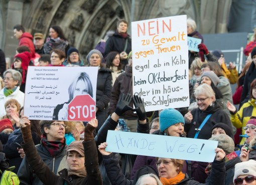 Protest against sexual assaults and violence against women by refugees in Cologne