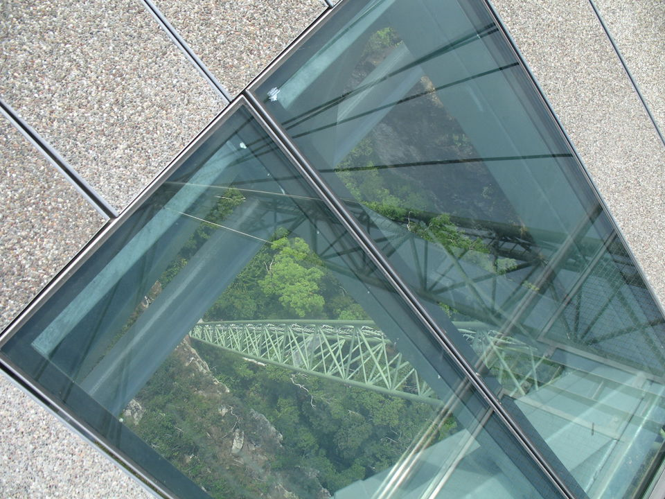 Skywalk bridge glass flooring