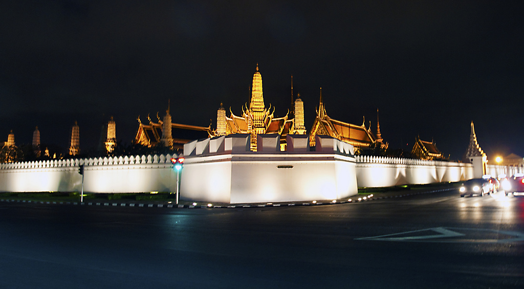 Night view of The Grand Palace in Bangkok