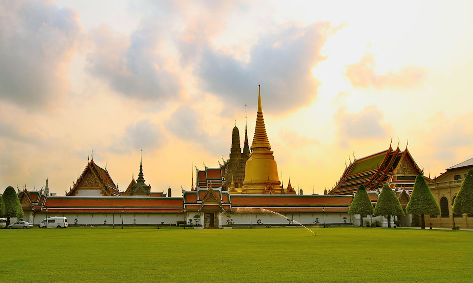 The Grand Palace and Wat Phra Kaew or the Temple of the Emerald Buddha as seen from the Outer Court