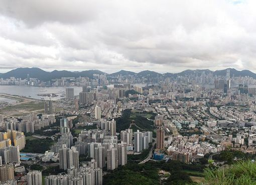 Full view of Kowloon and Hong Kong