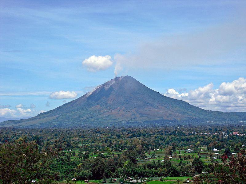 Sinabung volcano in Sumatra, Indonesia