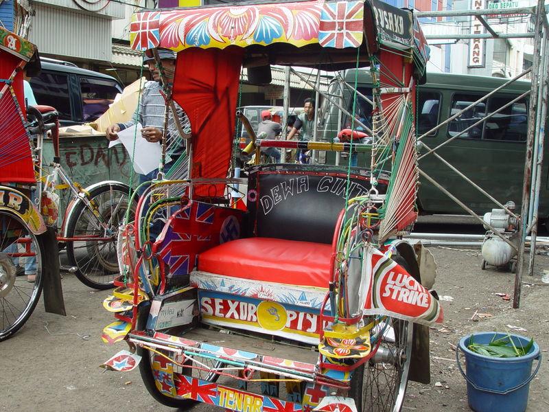 Cycle rickshaws in Indonesia