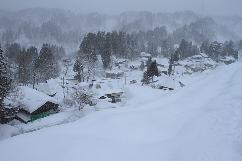 Village in snow in Japan