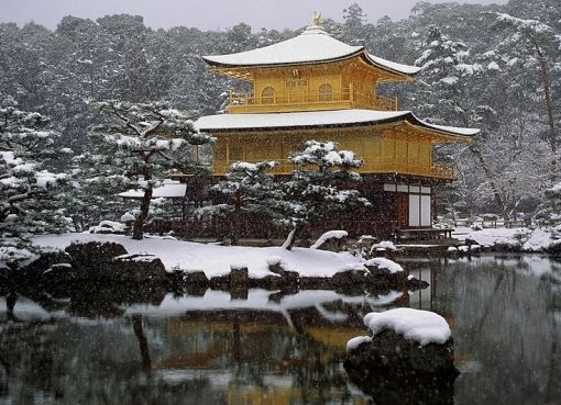 Traditional Japanese architecture and snow