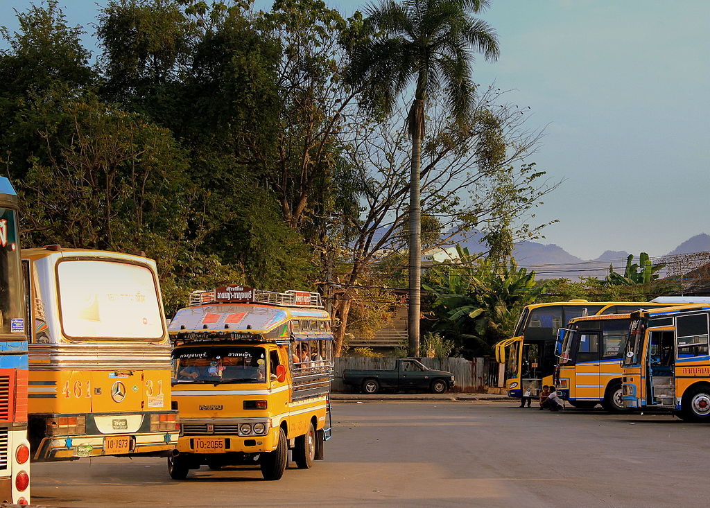 Yellow buses at the Kanchanaburi bus station