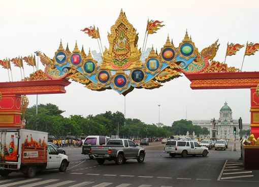 Arches over Ratchadamnoen Avenue in Bangkok in honour of the 60th anniversary of H.M. King Bhumibol Adulyadej's ascension to the throne