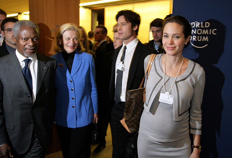 Angelina Jolie, UNHCR Goodwill Ambassador, Brad Pitt and Kofi Annan, Secretary-General, United Nations
