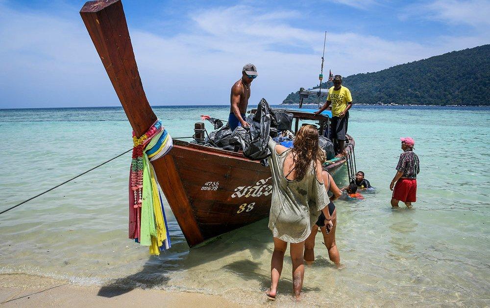 Long tail boat at Koh Lipe beach