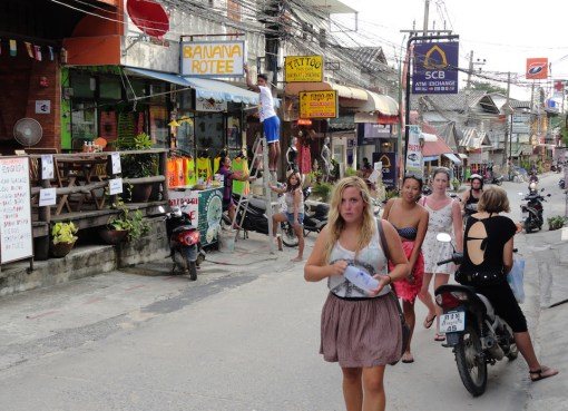 Tourists at Haad Rin street in Koh Phangan