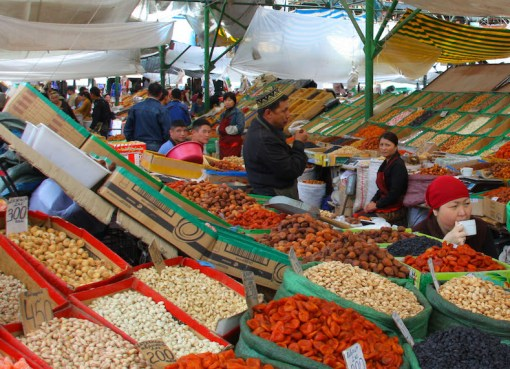 Osh Bazaar in Bishkek, Kyrgyzstan, dried fruits and nuts