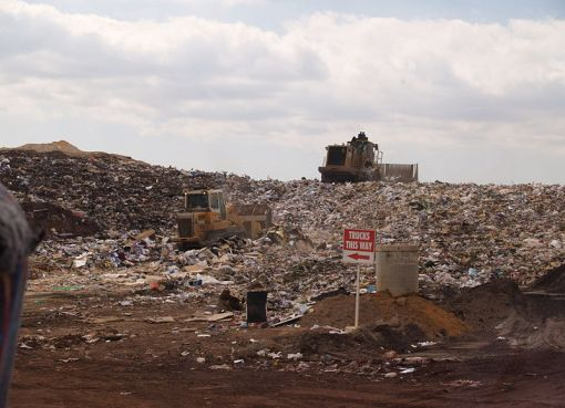 Garbage in a area of an operating landfill