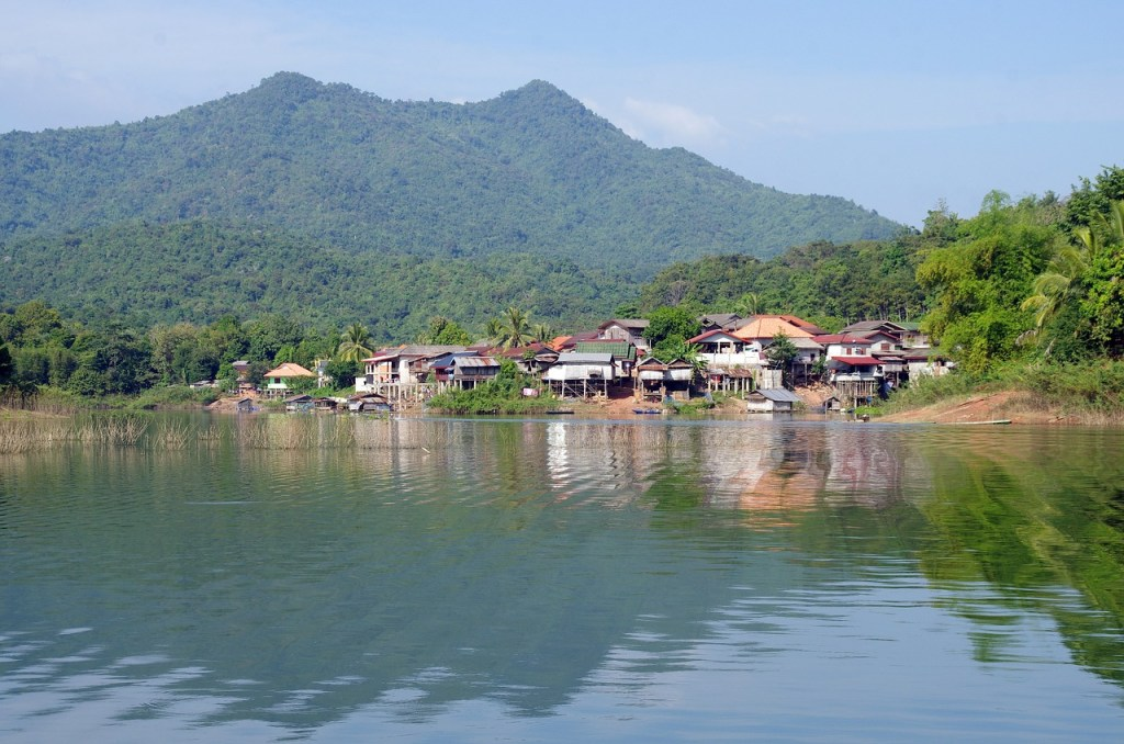 Village near a lake in Laos
