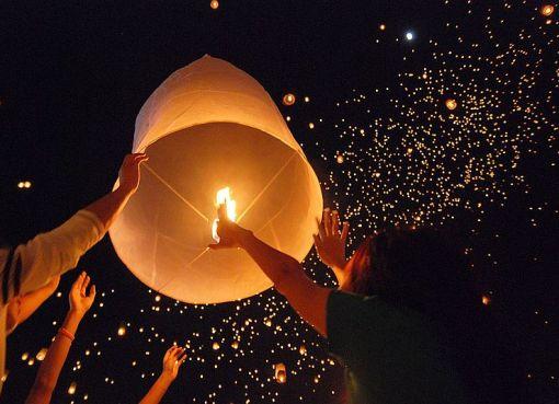 Sky lanterns during the Loy Krathong Festival