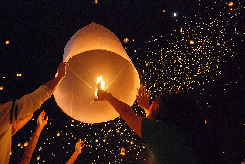 Sky lanterns during the Loy Krathong Festival
