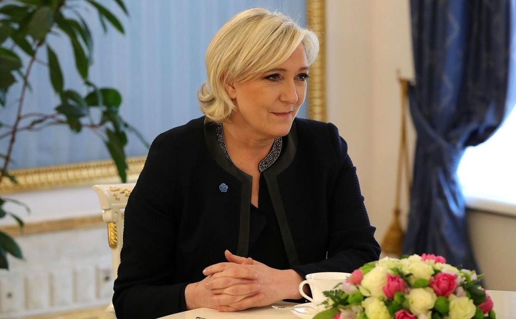 French National Front political party leader Marine Le Pen during a meeting with Russian President Vladimir Putin