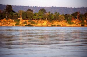 The Mekong River in Nong Khai, Thailand, viewed from Vientiane, Laos