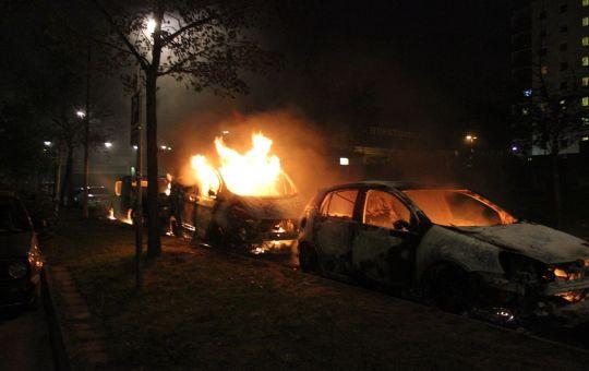 Muslim youths burning cars in Stockholm, Sweden