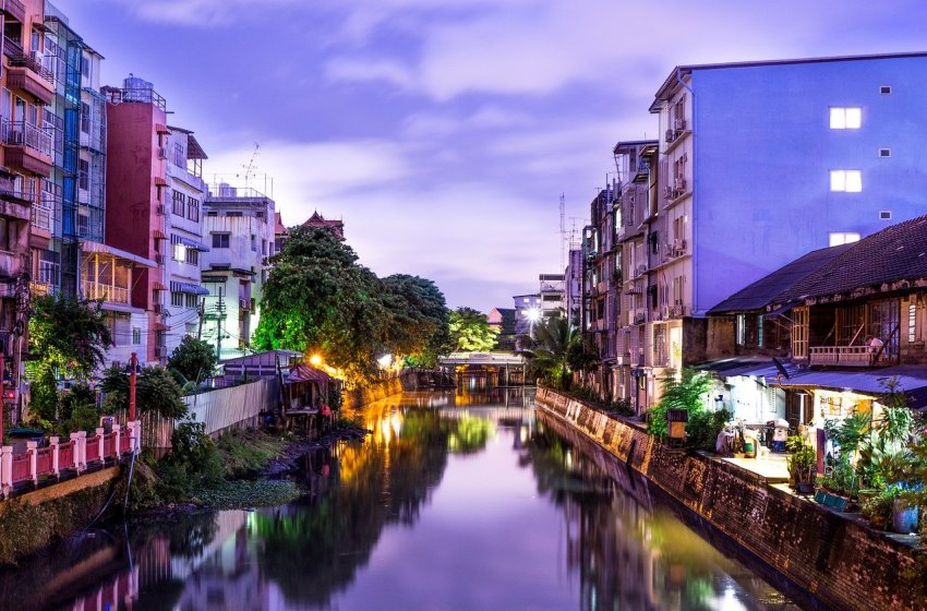 Riverside buildings along a canal in Nonthaburi