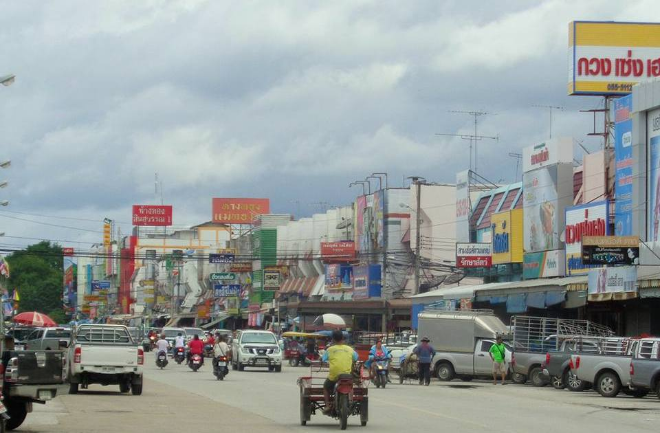 Main road on a town in Northern Thailand