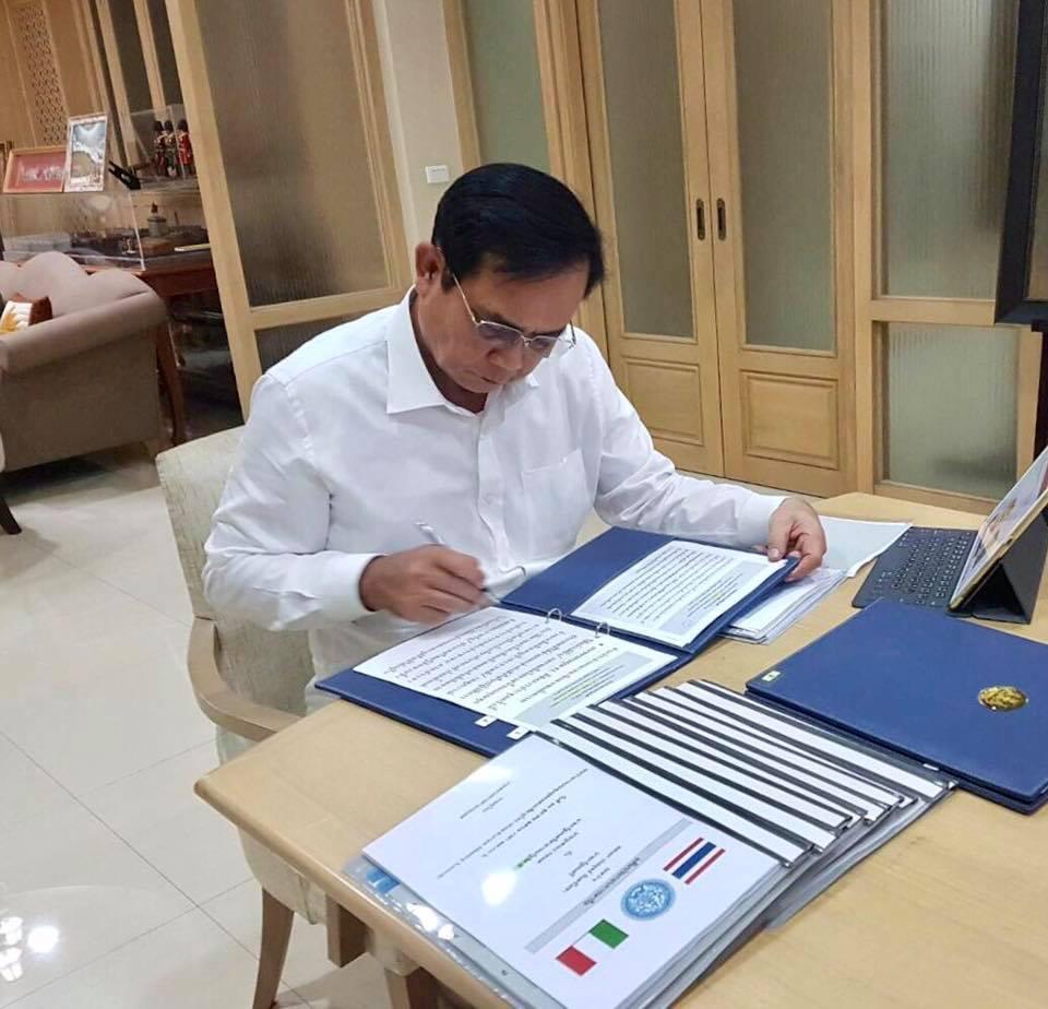 PM Prayut Chan-ocha working at his office