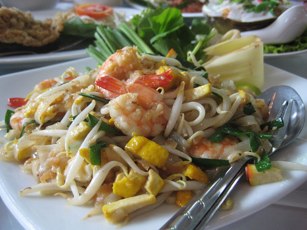 Pad thai stir-fried rice noodle dish, served in Bangkok