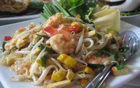 Pad thai stir-fried rice noodle dish, served in Bangkok