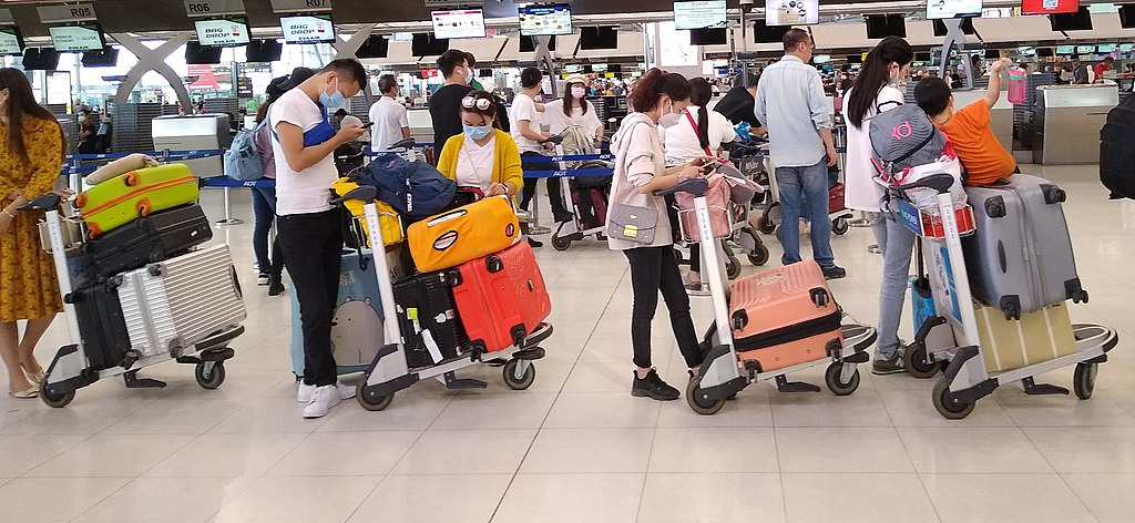 Passengers at Suvarnabhumi Airport in Bangkok waiting for a flight to Shanghai in March 2020 during the COVID-19 outbreak
