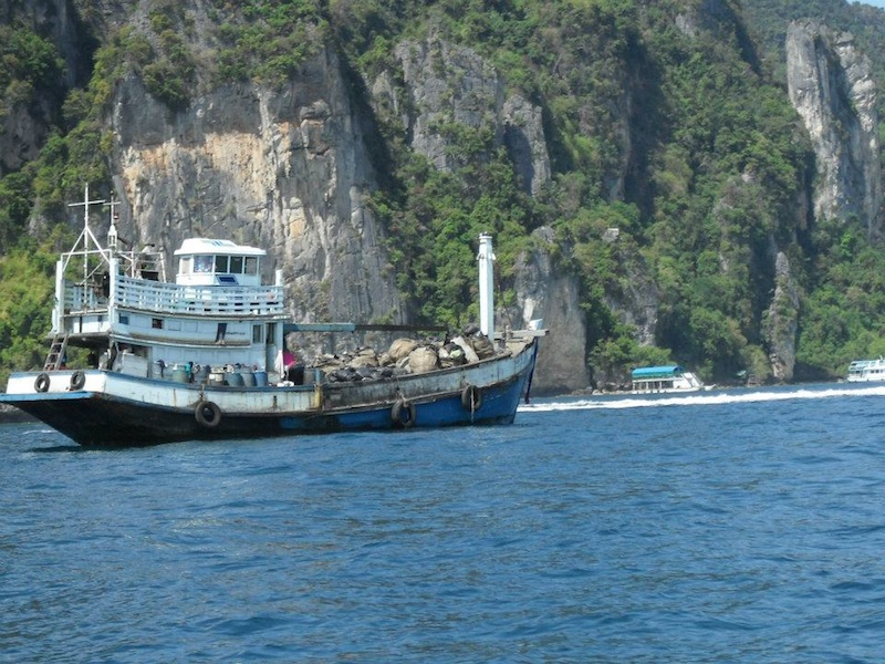 Garbage boat on Phi Phi Islands