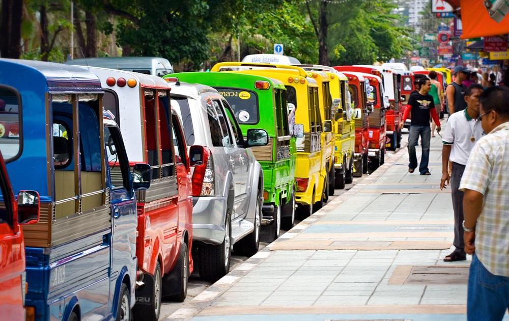 Row of Tuk-Tuks on Thawiwong Road in Patong Beach, Phuket