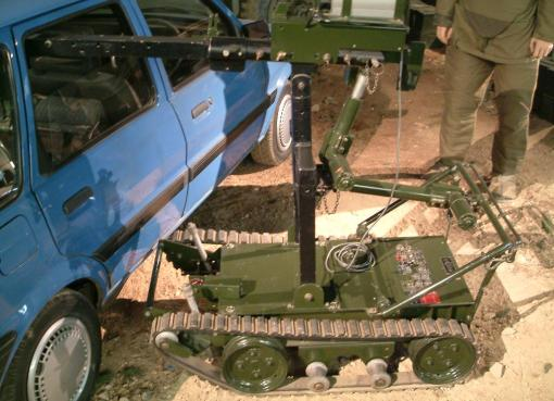 A remotely controlled bomb disposal robot