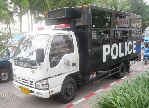 Thai Police Isuzu NKR prisoner transport truck